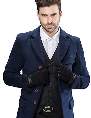 YISEVEN Herren Touchscreen Schaffell Wildleder handschuhe mit Warm Gefüttert Elegant Winter Leder Autofahrer Handschuhe Geschenk, Schwarz XL/10.0