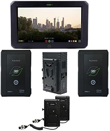 Atomos Sumo 19&uot; Monitor Recorder - Bundle with Core SWX Two Position Simultaneous V-Mount Battery Charger, 2-Pack Core SWX Nano 6.6Ah Li-Ion V-Mount Battery, Core SWX Double V-Mount Plate Kit