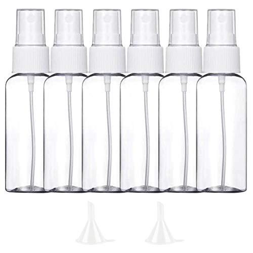 6 Pezzi (50ML) Trasparente Bottiglie Spray, MOCOCITO Flaconi Spray da Viaggio in Plastic Fine Nebbia Bottiglia con 2 Piccolo Imbuto, Dispenser per Acqua Nebulizzatore 【Spedire dall'Italia】
