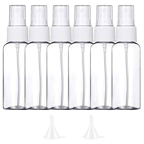 6 Pezzi (50ML) Trasparente Bottiglie Spray, MOCOCITO Flaconi Spray da Viaggio in Plastic Fine Nebbia Bottiglia con 2 Piccolo Imbuto, Dispenser per Acqua Nebulizzatore