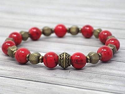 Bracelet Zen pour femme en perles tibétaines en bronze antique et turquoise rouge reconstituée