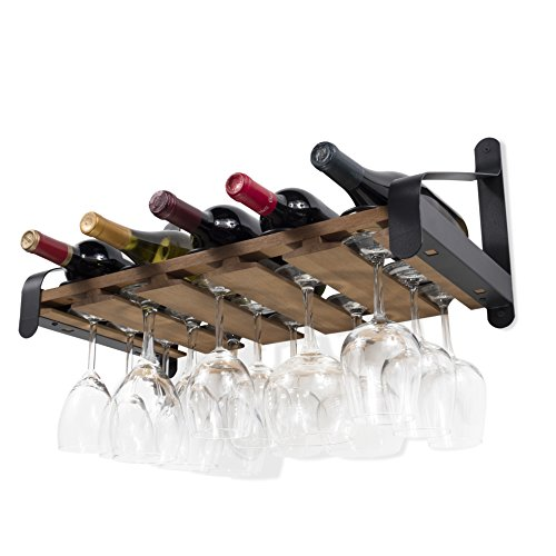 Rustic State Wall Mounted Wood Wine or Liquor Bottle Storage Holders | Stemware Racks Organizer (Walnut)