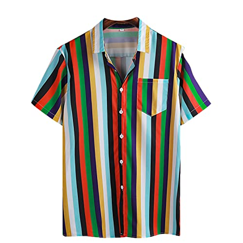 Camisa para Hombre Moda de Verano Color Block a Rayas Estampado Informal Suelto con Botones Manga Corta Polo