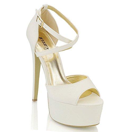 ESSEX GLAM Sandalo Donna Peep Toe con Lacci Plateau Tacco a Spillo Alto (UK 3 / EU 36 / US 5, Bianco Pelle Sintetica)