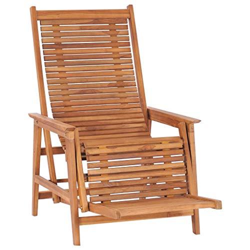 Gartenstuhl Hochlehner Verstellbar Liegestuhl Holz mit Fußablage Relaxsessel mit Liegefunktion Relaxstuhl Sonnenstuhl Gartenliege Liegestuehle Balkonstuhl für Garten Balkon Terrasse