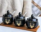Cerámica doméstica Nordic patrón de ladrillo jar/oro elk/tres piezas latas de condimentos contenedor de almacenamiento - cuchara, para acomodar una variedad de condimentos,B