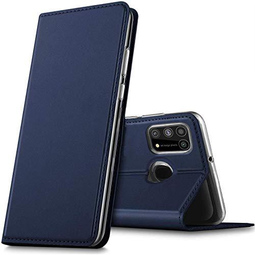 Verco Handyhülle für Samsung Galaxy M31, Premium Handy Flip Cover für Samsung M31 Hülle [integr. Magnet] Book Hülle PU Leder Tasche, Blau