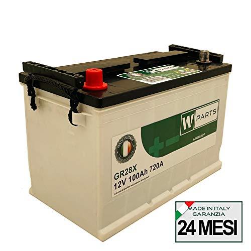 W-Parts Batteria Auto 100 Ah - 720A +SX   Garanzia Italia   333x175x215   100Ah   G28100