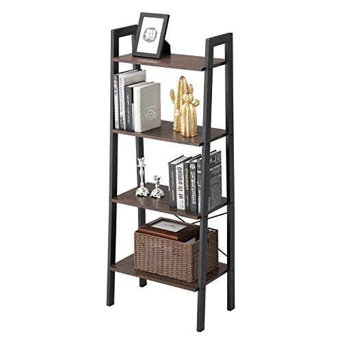 VASAGLE Industrial Bookshelf, 4-Tier Ladder Shelf, Free Standing Storage Shelves, Stable Metal Frame, Living Room Kitchen or Balcony, Easy to Ass   emble, Rustic Dark Brown ULLS44BF
