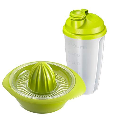 Westmark Fitness-Set 2tlg., Zitrus- und Orangenpresse und Dressingshaker, Fassungsvermögen: je 0,5 l, Kunststoff, Mixery, Limetta, Apfelgrün/Transparent, 3091227E
