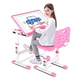 Children Table and Chair Set, Kids Study Desk Chair Set Adjustable Height Studying Table Chair Painting Learning Desk Chair Art Table Set with Tiltable Desktop for Study Room School Student Pink