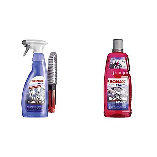 SONAX Xtreme Felgenreiniger Plus säurefrei (750ml) Felgenbürste & Xtreme RichFoam Shampoo Schaum-Shampoo/Snow Foam Shampoo erzeugt dichten, langhaftenden & schmutzlösenden Schaumteppich
