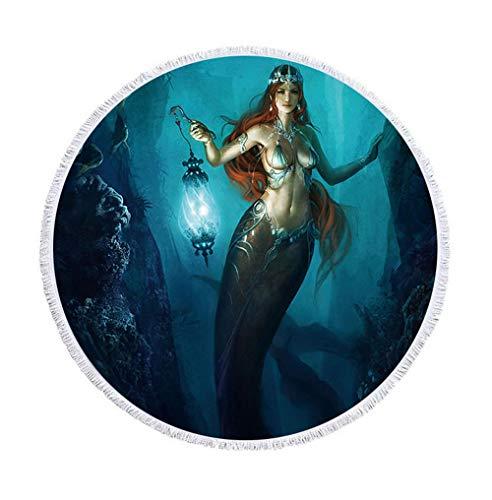 Toalla de Playa Redonda Sirena Esterilla de Yoga o para...