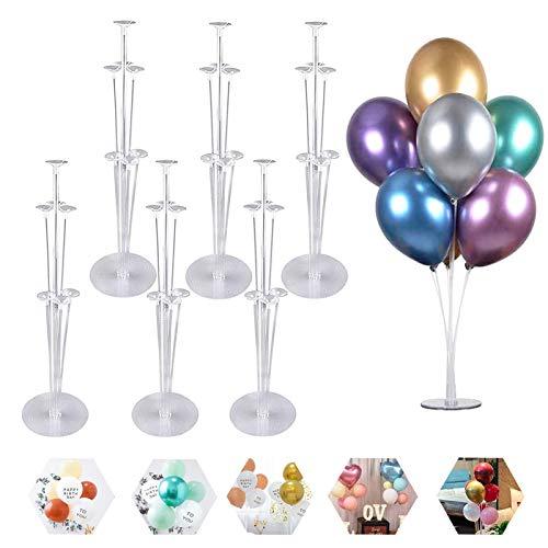 Soporte de Globo Kit para Piso,6 Piezas Soporte de Globos Varillas de plástico,soporte de globos de mesa transparente,para Decoraciones de Fiestas de cumpleaños y Decoraciones de Bodas