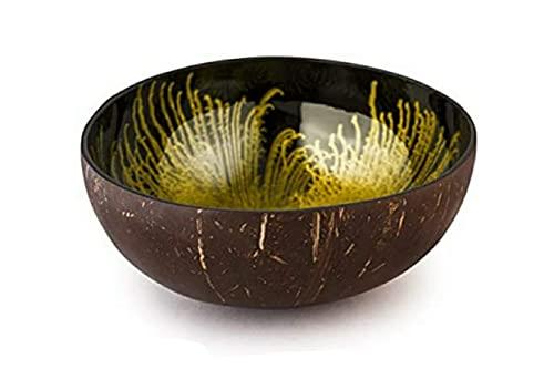 cocovibes Cuenco decorativo de coco para llaves, conchas y decoración/cada cuenco decorativo es único/cuenco redondo lacado dorado y negro, diámetro 12 – 14 cm