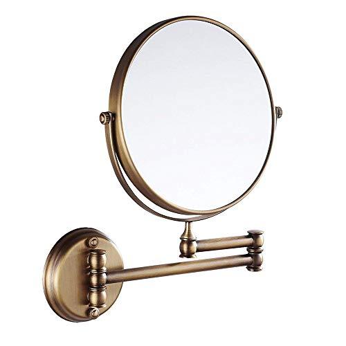 CASEWIND Ronde wandspiegel, kleine spiegel, boren aan de muur, draaibaar, van messing, constructie voor badkamer, douche, toilet antiek, messing finished, retrostijl, diameter 20 cm