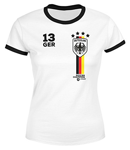 MoonWorks® Damen Fan-Shirt Fußball Retro Deutschland Germany Weltmeisterschaft Fan-Trikot Style WM 2018 weiß-schwarz XS