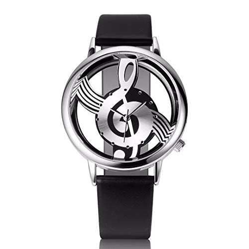 LD Damenuhr Herrenuhr Musik Skelett Uhr Edelstahl Leder Armband Quarzuhr Armbanduhr