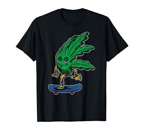 Kiffer Skater Cannabis Blatt Reiten Ein Skateboard Skater T-Shirt