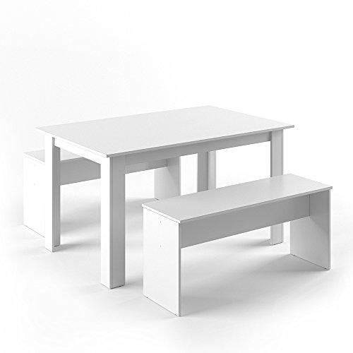 Vicco Tischgruppe 140 x 90 cm - 4 Personen - Esszimmer Esstisch Küche Sitzgruppe Tisch Bank - Bänke flexibel verstaubar (Weiß)