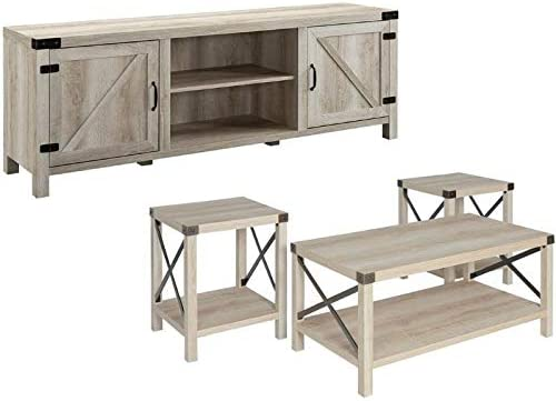 Home Square 4 Piece Farmhouse Barn Door TV Stand Console Coffee Table and 2 End Table Living Room Set in Rustic White Oak