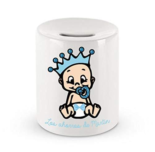Kembilove Hucha de Cerámica Personalizada con Nombre - Hucha Cerámica de Bebe Azul - Huchas Personalizadas para Viajeros - Regalo Original Cumpleaños, Navidad - Huchas con mapas del Mundo