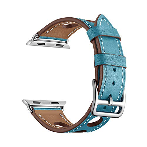TieSen シンプルさ ローキー 本革ループ時計バンド時計5 4 3 44ミリメートル/ 40ミリメートルFor iWatch 42ミリメートル38ミリメートルシングルツアーブレスレット時計バンドベルト-blue-38mm