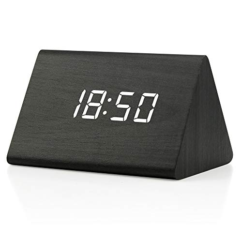 OCT17 Wooden Wood Clock , 2020 New Version LED Alarm Digital Desk Clock Adjustable Brightness, Alarm Time, Displays Time Date Temperature - Black (White Light)