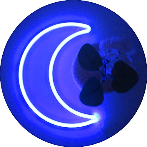 LED Blue Crescent Moon Neon Signs Light,Cute Room Wall Decor Battery or USB Powered Art Decorative Moon Lamp Night Lights Indoor for Home, Bedroom,Dorm,Party,Gift for Girls,Kids,Mother