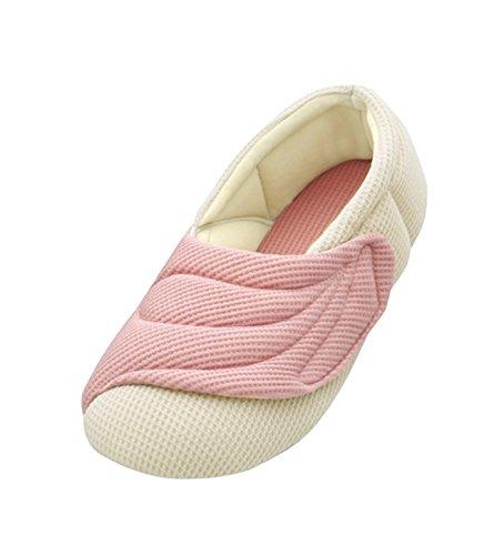 介護シューズ あゆみ ワイドベルトワッフル 室内用 ピンク Lサイズ(23.5~24.5cm) 足囲9E相当 両足