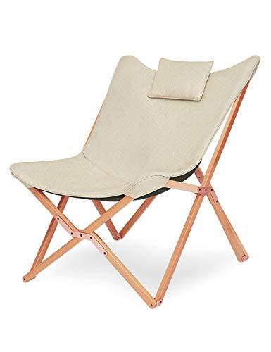 Suhu Klappstuhl Camping Stuhl Lounge Sessel Modern Design Retro Stühle Liegestuhl Klappbar Gartenliege Auflagen Hochlehner TV Relaxliege Mit Holzrahmen Stoff Für Balkon (Beige)