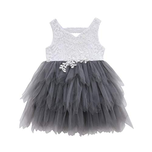 LEXUPE Kleinkind Kind Baby Mädchen ärmellose Spitze Tüll Patchwork Prinzessin Kleid Kleidung(Grau,90)