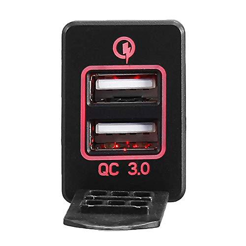 Wooya Qc3.0 12-24V Adaptador De Corriente De Enchufe De Cargador De Interfaz USB De Doble Puerto para Toyota-Rojo