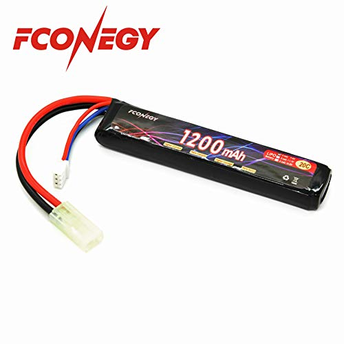 Fconegy 2S 7.4V 1200mAh 20C Lipo Battery Pack with Small Tamiya Plug for for Airsoft Gun/Rifle