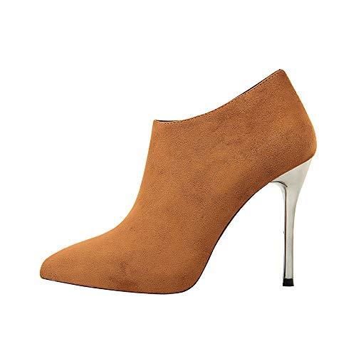 SMSZTYM Bottines pour Femmes Talons Hauts 10Cm Bureau Bottes Stiletto Bottes pour Femmes Talons Hauts Chaussures Femmes Escarpins Bottes Noires