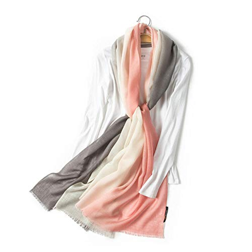 Winter Scarfs Women80S Worsted Wool 100% Wool Gradient Shawl Women Air-Conditioned Room Keep Warm Pashmina-01_194*70Cm