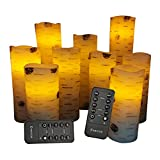 "Flameless Candles Battery Operated Candles Birch Bark Effect 4"" 5"" 6"" 7"" 8"" 9"" Set of 9 Real Wax Pillar LED Candles with 10-Key Remote Control 2/4/6/8 Hours Timer"