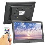 Marco de fotos digital HD Álbum electrónico de pantalla ancha de 10 pulgadas, para decoración, para fotografías de almacenamiento, para el hogar, para la oficina(negro, Enchufe europeo 100-240V)