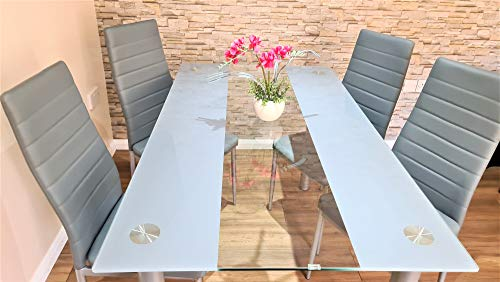 KOSY KOALA Stunning Glass Grey Dining Table Set And 4 Grey Faux Leather Chairs (Grey clear table and 4 grey chairs)