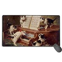 猫 ピアノ マウスパッド 大型 ゲーミングマウスパッド キーボードパッド 防水マウスパッド 拡張マウスパッド 滑り止め ゲーム向け オフィス おしゃれ 750*400*3mm