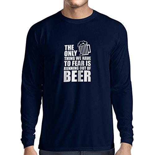 Camiseta de Manga Larga para Hombre Tener Miedo de no Tener una Cerveza - para la Fiesta, Bebiendo Camisetas (Medium Azul Blanco)
