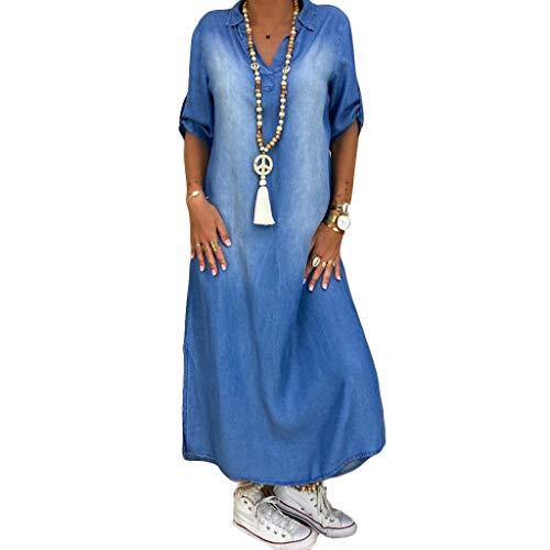 Binggong V-ringad jeansklänning denimklänning sommarklänning lång dam blusklänning casual strandklänningar maxiklänningar elegant cocktailklänning (L, blå)