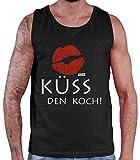 Hariz - Camiseta de tirantes para hombre, diseño con texto 'Küss Den Koch Grillen Negro M
