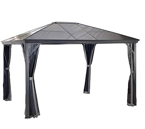 Sojag Aluminium Pavillon Überdachung Gazebo Verona 10x10 mit Doppelstegplatten inkl. Moskitonetz // 298x298 cm (BxT) // Gartenlaube mit Doppelstegdach