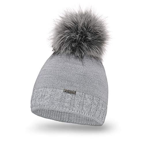 PaMaMi Damen Warme Mütze | Grau | Herbst und Winter |Acryl und Wolle | Strickmütze Beanie mit Fellbommel | Kopfumfang 55-58 cm