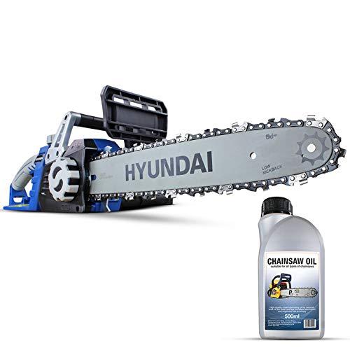 Hyundai Potente motosierra eléctrica de 1600 W y 230 V, 3 años de garantía Platino, barra guía y cadena de 3 metros, cable de alimentación de 500 ml HYC1600E, color azul