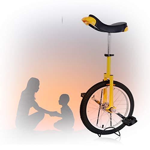 GAOYUY Trainer Einrad, Unisex 16/18/20/24 Zoll Rad Einrad Mit Alufelge Konturierter Ergonomischer Sattel Für Kinder Erwachsene (Color : Yellow, Size : 18 inch)
