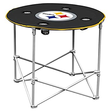 Logo Brands Pittsburgh Steelers Collapsible Round Table with 4 Cup Holders and Carry Bag