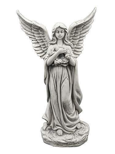 gartendekoparadies.de Große Massive Steinfigur Engel mit Flügel Raumdeko Grabdeko aus Steinguss