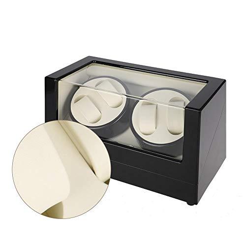 Horlogebox, gereedschapskist, horlogebox, houten schudtelbox, mechanisch automatisch horloge met snelheidsregeling (buitenkant wit en zwart)